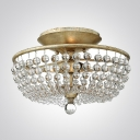 Strands of Clear Crystal Balls and Brass Finish Frame Add Elegant to Stunning Semi Flushmount Ceiling Light