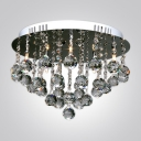 Round Shaped Flush Mount Shine with Glitz and Glamour Clear Crystal Balls