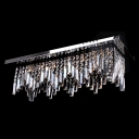 Grand and Elegant Island Pendant Light Adorned with Strong Stainless Steel Base and Fringe Clear Crystals