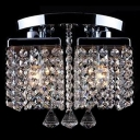 4-Light Modern and Elegant Sparkling Crystal Beaded Strands Shade Flush Mount with Round Canopy