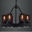 Hard Six-light Black Finished Chimney Shape Industrial Chandelier
