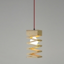 "Single Light Spiral Design Mini Pendant Light With Round Wood Canopy11""High"