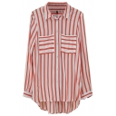 Red Vertical Stripe Pattern Double Pockets Shirt