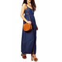 Dark Blue Lace Insert Denim Longline Slip Dress with Button Fly