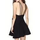 Double Spaghetti Strap Style Seam Detail Black A-line Dress