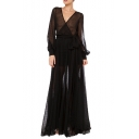 Illusion Polka Dot Mesh V-Neck Bell Sleeve Maxi Black Dress