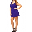 Plunge Neck Elastic Waist Blue Rompers with Belt