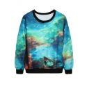 Green Starry Sky Print Sweatshirt