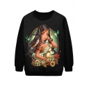 Long Hair Tribal Girl Print Sweatshirt