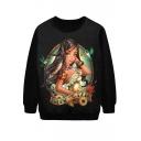 Long Hair Tribal Girl Print Sweatshirt