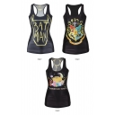 Halloween&Batman&Cartoon Print Black Tanks
