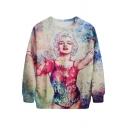 Beige Background Sexy Marilyn Monroe Print Sweatshirt