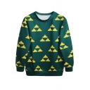 Yellow Abstract Triangle Print Green Sweatshirt