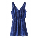 Blue V-Neck Gathered Waist Serpentine Print Tank Dress