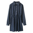 Vintage Geometric Print Point Collar Long Sleeve Mini Dress
