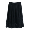 Sexy Plain Lace Inserted Midi Skirt with Elastic Waist