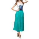 Plain Pleated Elastic High Waist Maxi Skirt