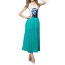 Plain Pleated Elastic High Waist Maxi Skirt