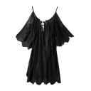 Plain Lace Strap Open Shoulder Short Sleeve Sheer Dress
