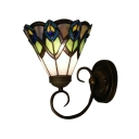Beautiful Tiffany Glass Shade Wrought Iron Wall Sconce Designed for Up or Down Lighting