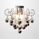 Charming Three Lights Semi Flush Mount Ceiling Light Adorned with Grey Glass Balls and Graceful Scrolls