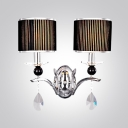 Enchanting Two-light Black Drum Fabric Shade Add Charm to 20