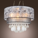 Teardrop Crystals Grey Flowers 2-tier Drum Shade Chanelier Pendant Light
