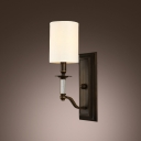 Magnificent Wrought Iron And Crystal Creates Stunning Wall Sconce with Beige Fabric Shade