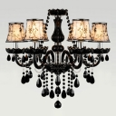 Majestic and Bold Jet Black Arms and Droplets 6-Light Chandelier Lighting