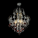Stunning Red Crystal Corona Chandelier Shine with Bright  Clear Crystal Strands and Balls