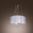 Shimmering Crystal Water drops 4-Light Romantic White Shaded Pendant Light