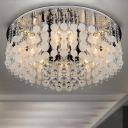 Romantic and Soft White Seashells Crystal Beaded Flush Mount Ceiling Light