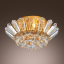 Majestic and Luxurious Gold Finish and Clear Crystal Bowl Flush Mount Ceiling Light
