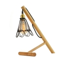 Country Style Wood Industrial LED Table Lamp with Mini Cage