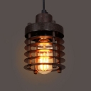 Retro Bronze Finished LED Mini Pendant with Outer Cage