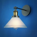 Bronze Finished LOFT One-light Cone Shaped Frosted Glass LED Wall Lamp