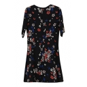 Dark Blue Background Swallow&Floral Print Dress