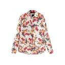 Colorful Rose Print Midi Shirt
