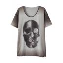 Ombre Skull Print Round Neck Short Sleeve T-Shirt