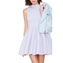 Lilac Stand Collar Sleeveless Fit&Flare Ruffle Hem Dress