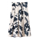 High Waist Ink Color Flower Pleated Skirt