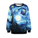 Blue Sky&Filed&House Painting Print Sweatshirt