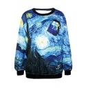 Blue Sky&Filed&House Painting Print Sweatshirt