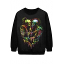 Symmetric Fantasy Skull Print Sweatshirt