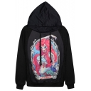 Quirky Mermaid Print Black Hoodie