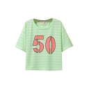 Candy Color Letter Print Round Neck Crop T-Shirt