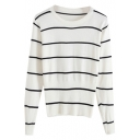 White Striped Round Neck Long Sleeve Fitted Knitted Sweater