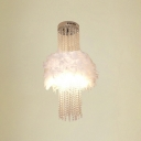 Elegant White Feather Embraces Strands of Crystal Necklace Composed Stunning Semi Flush Mount Ceiling Light Fixture for Bedroom