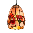 Fruit Pattern Shell Bell Shade One Light Tiffany Mini Pendant