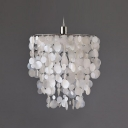Beautiful White Capiz Shell and Polished Nickel Finish Add Charm to Modern Pendent Light